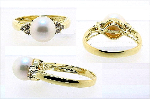 8.4MM White Cultured Pearl Ring w/6 Diamonds, 14K Yellow Gold, Size 7