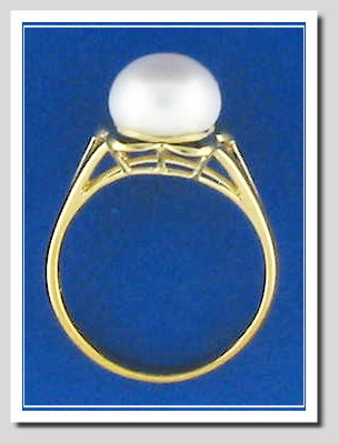 9MM Fresh Water Cultured Pearl Ring, 14K Gold, Size 7.5