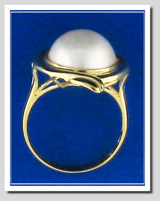 12MM Mabe Pearl Ring 14K Yellow Gold Size 7.75