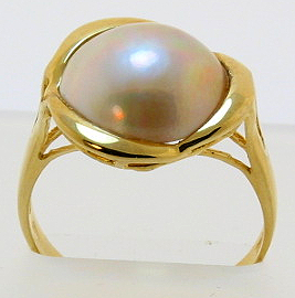 11.5MM Japanese Mabe Pearl Ring 14K Yellow Gold Size 7.5