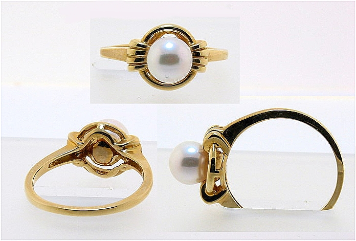 6MM White Japanese Akoya Cultured Pearl Ring, 14K Yellow Gold, Size 7