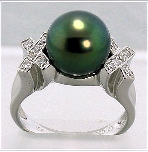 10MM Black Tahitian Pearl Ring w/Diamonds, 18K White Gold, XO Style, Size 7.5