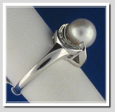 8.5MM White Cultured Pearl Ring w/9 Diamonds, 14K White Gold, Size 7.5