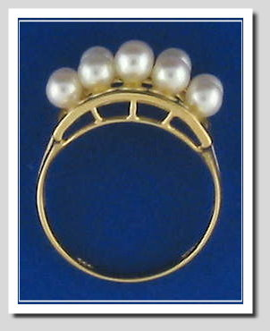 White Multi Akoya Cultured Pearl Ring 14K Gold Size 7.25