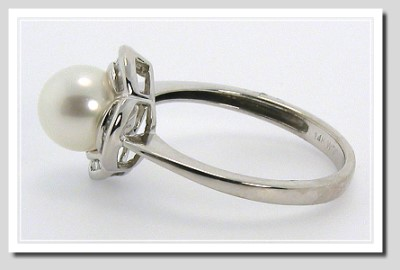 AAA 7-7.5MM White FW Pearl Diamond Ring 14K White Gold