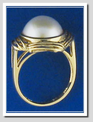 12MM White Japanese Mabe Pearl Ring 14K Yellow Gold Size 7.5