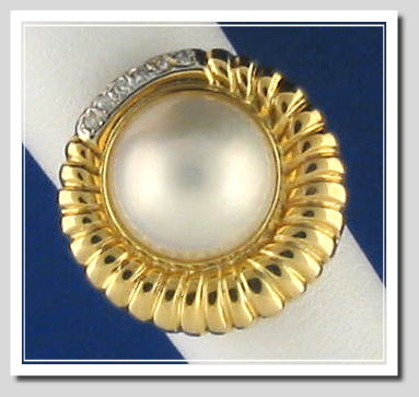 12.5MM Japanese Mabe Pearl Diamond Ring 14K Yellow Gold Size 7.5