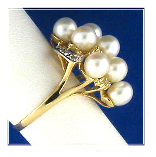 Multi White Freshwater Cultured Pearl Ring w/0.19 Ct. Diamonds, 14K Yellow Gold, Size 7.5