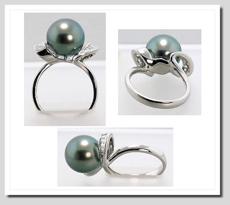 10.5-11MM Tahitian Pearl Diamond Ring 0.24CT. 18K White Gold Sz 7