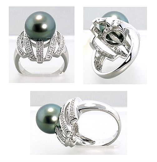 10.5-11MM Tahitian Pearl Diamond W-Style Ring 0.26CT. 18K White Gold Sz 7