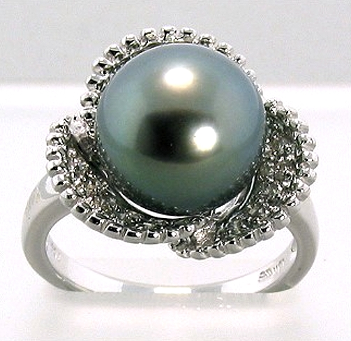 10.5-11MM Tahitian Pearl Diamond Ring 0.31CT. 18K White Gold Sz 7