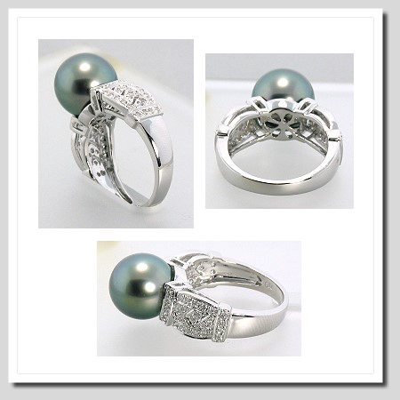 10.5-11MM Tahitian Pearl Diamond Ring 0.26CT. 18K White Gold Sz 7
