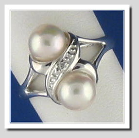 Double Akoya Cultured Pearl Ring w/Diamond, 14K White Gold, Size 7