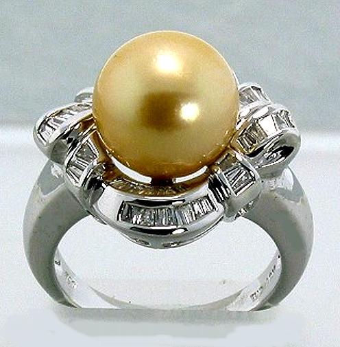 10.9MM Golden South Sea Pearl Ring w/0.56 Ct. Diamonds, 18K White Gold, Size 7