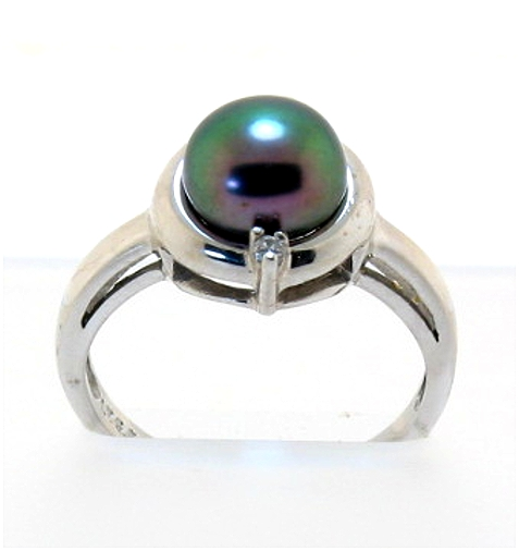 8-8.5MM Black Freshwater Cultured Pearl Ring w/Diamond, 14K White Gold, Size 7
