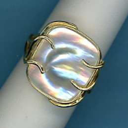 All-American Blister Pearl Ring, 14X16MM, Cushions Shape, 14K Yellow Gold, Size 6.5