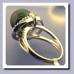 10.9MM Peacock Color Tahitian Cultured Pearl Ring, 0.61ct. Diamonds, 18K W Gold
