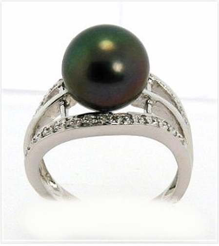 10.7MM Peacock Color Tahitian Cultured Pearl Ring, 0.16ct. Diamonds, 18K W Gold