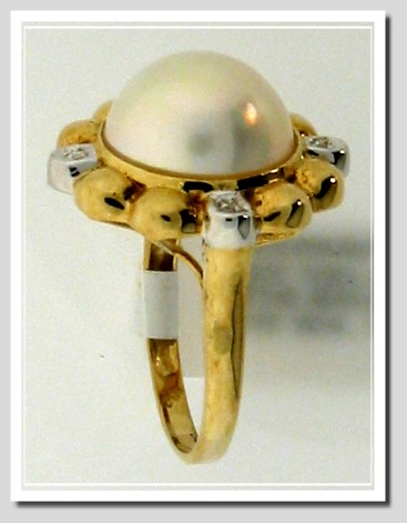 12.5MM Mabe Pearl Diamond Ring 14K Yellow Gold Size 7