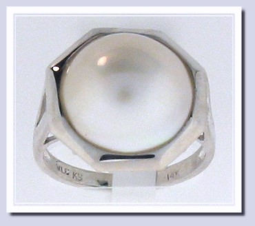 13.6MM Mabe Pearl Ring 14K White Gold Size 7.25
