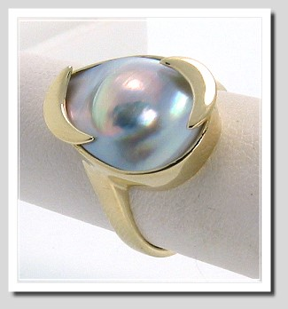 All-American Blister Pearl Ring, 13X17MM Pear Shape 14K Gold Size 6.5