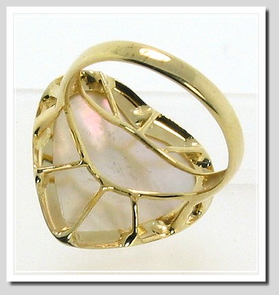 18X17MM White Heart Mabe Ring 14K Yellow Gold Size 8