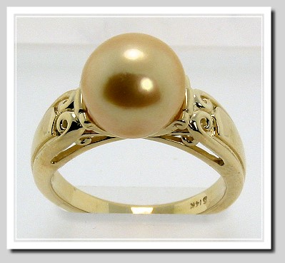 10.13MM Dark Golden South Sea Pearl Ring 14K Yellow Gold, Size 7.25