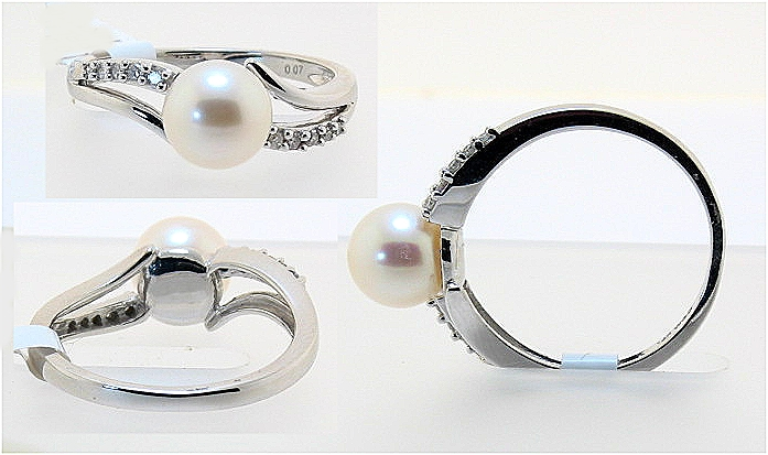 AAA 7-6.5MM FW Pearl & Diamond Ring 14K White Gold, Size 7