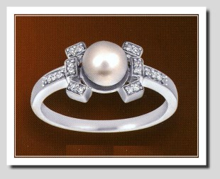 AAA 7-7.5MM FW Pearl & Diamond Ring 14K White Gold