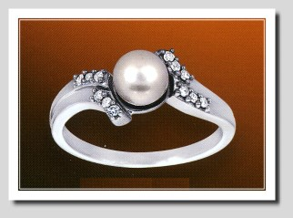 AAA 6-6.5MM FW Pearl & Diamond Ring 14K White Gold