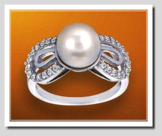AAA 8-8.5MM FW Pearl & Diamond Ring 14K White Gold