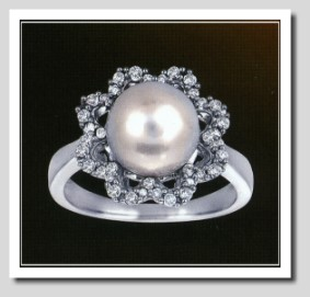 AAA 9-9.5MM FW Pearl & Diamond Ring 14K White Gold