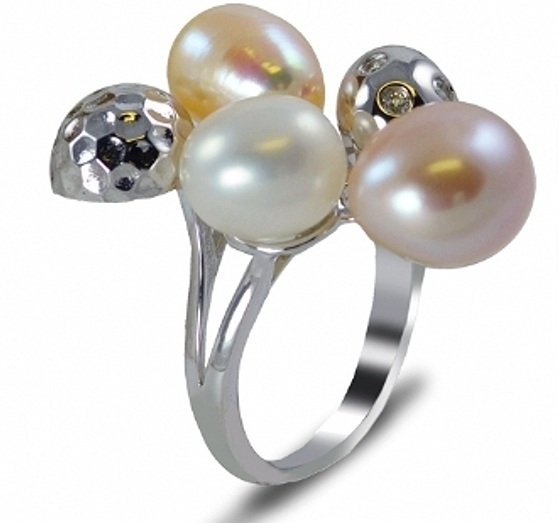 8.5-10MM Multi Color Freshwater Pearl Ring, Silver, 7.7 Grams, Size 7