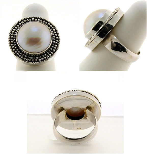 15MM Mabe Pearl Ring, Silver, 9.2 Grams, Size 9