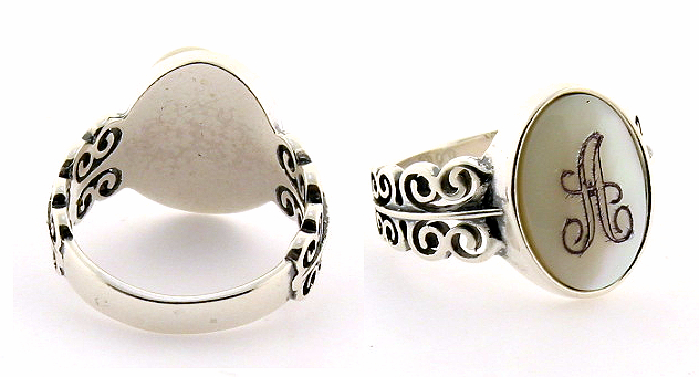14X10MM Initial Engraved Ring, Sterling Silver, Mother of Pearl Size 7