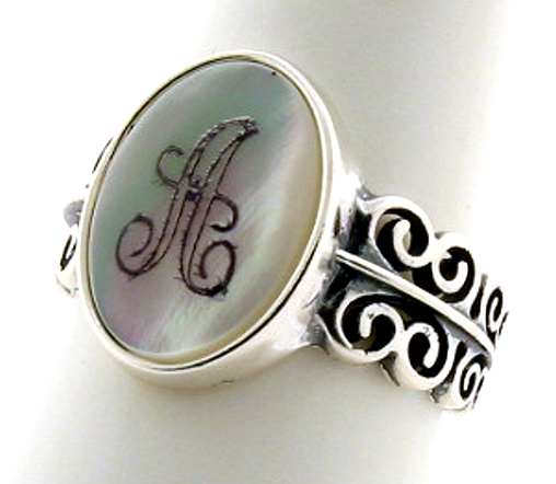 14X10MM Initial Engraved Ring, Sterling Silver, Mother of Pearl Size 8