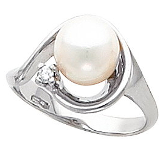 6-6.5MM Pearl Diamond Ring, 0.03 CT 14K Gold