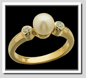 8-8.5MM Cultured Pearl Diamond Ring, 0.10 CT., 14K Gold