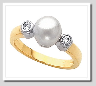 8-8.5MM Cultured Pearl Diamond Ring, 0.10 CT., 14K Two Tone Gold