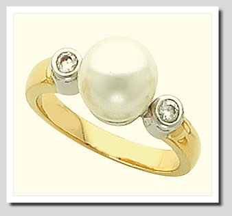 9-10MM Cultured Pearl Diamond Ring, 0.10 CT, 14K Two Tone Gold