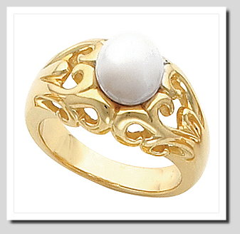 8-8.5MM Cultured Pearl Ring, 14K Gold