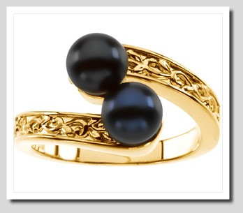 6-6.5MM Double Akoya Cultured Pearl Ring 14K Gold