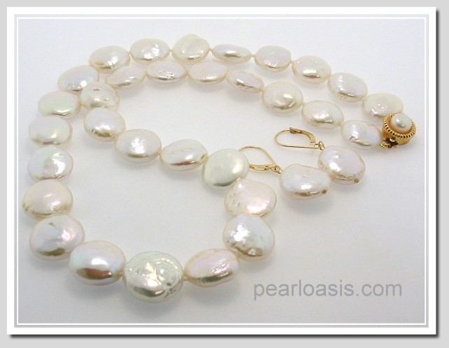 13-16MM Freshwater Coin Pearl Necklace 19in & Earrings Set 14K Gold