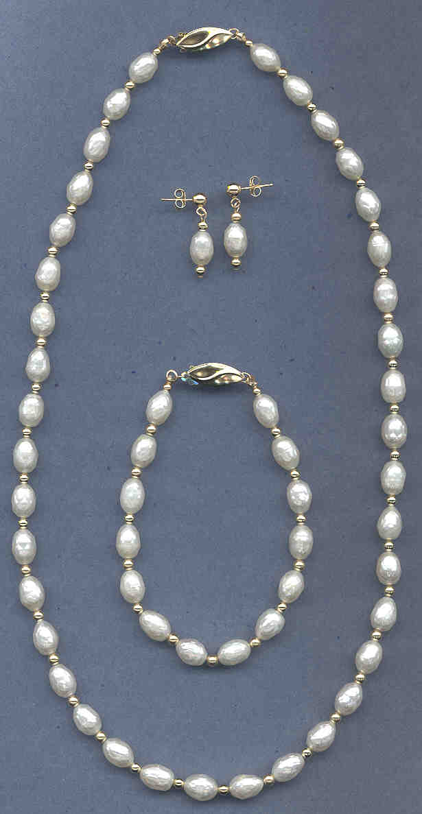Faceted Pearl Set: Necklace (18) /Bracelet (7) / Earrings, 14K Gold Beads & Clasps