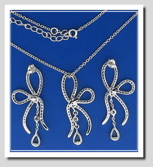 Bridal Set: Bow Style Earrings Pendant Chain. White Citrons & Blue Crystals. 925 Silver