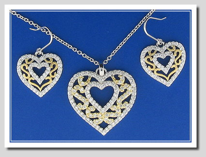 Bridal Set: Double Heart Earrings Pendant Chain. White Zircons. 925 Silver