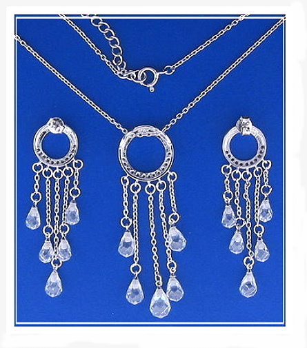 Bridal Set: Dangle Earrings Pendant Chain. White Zircons & Crystals. 925 Silver