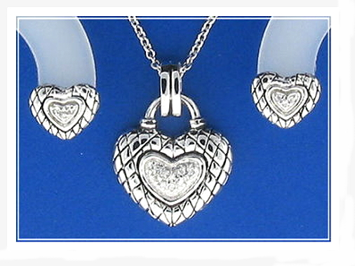 Bridal Set: Euro Antique Style Heart Earrings Pendant Chain. White Zircons. 925 Silver