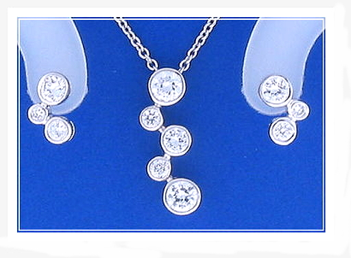 Bridal Set: Bubble Earrings Pendant Chain. White Zircons.  925 Silver