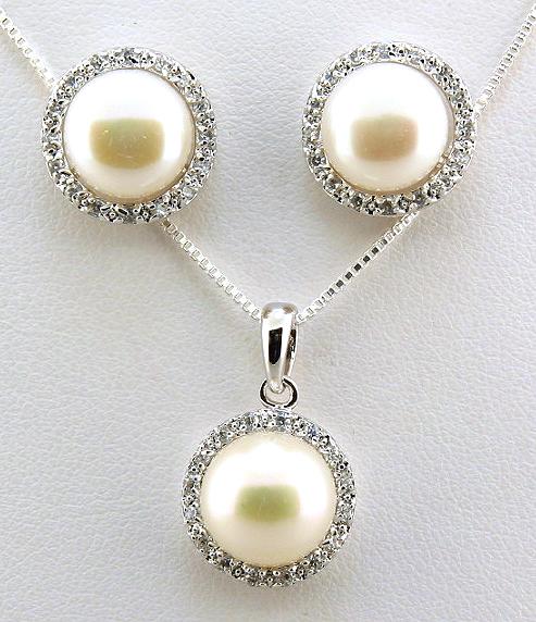 9-10MM White Freshwater Pearl CZ Earrings Pendant Chain Set, Silver